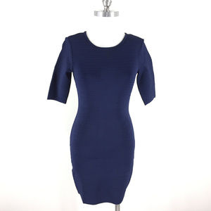 Cache S Navy blue Ribbed Dress Bodycon Cocktail